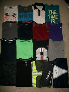 GUC! LOT OF 17 MENS SIZE L ATHLETIC WEAR NIKE UNDER ARMOUR OLD NAVY TEES SHORTS
