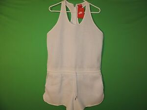 Nike Tennis Womens Size L Large White Sleeveless Jumpsuit  Romper NEW $120