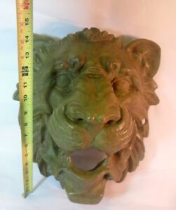 Amazing Antique Cast Iron LION HEAD Wall Hanging Mpls MN Bank Art Sculpture