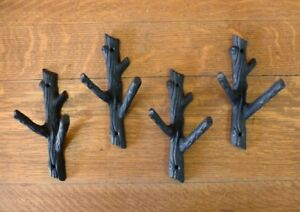 4 BROWN 7.75quot; TALL TREE TRUNK BRANCH TWIG DOUBLE WALL HOOKS RUSTIC CAST IRON $34.95