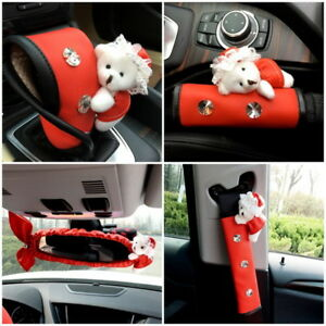 5 Pcs Cute Car Accessories Interior Decoration Covers Set Red Leather Crystal