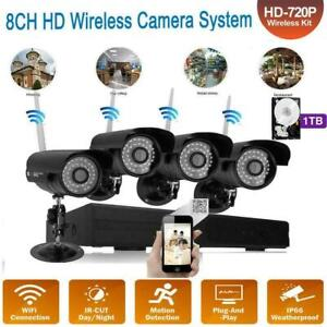 Wireless 4CH WiFi 1080P HD NVR Outdoor IR-CUT Bullet Camera Home Security System
