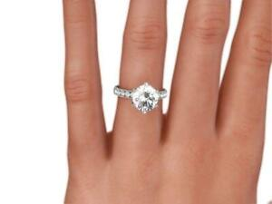 2 CT ROUND CUT D SI1 PAVE DIAMOND SOLITAIRE ENGAGEMENT RING 14K WHITE GOLD