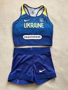 Nike Elite Pro UKRAINE Team Women's Bra & Shorts Track Field Running OREGON RARE