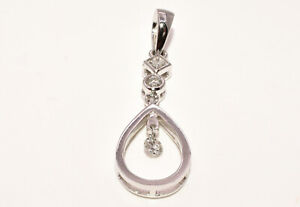 14K White Gold amp; Diamond Pendant