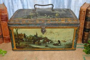 Antique Litho Christmas Cookie Biscuit Tin Box Wed J Bekkers Zoon Holland French