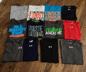 Under Armour Boys Size Medium Lot of 12 Tee Shirts Heat Gear Graphic WOW!