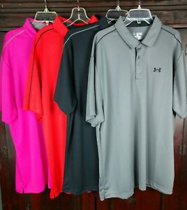 Under Armour Mens Polo Shirts Short Sleeve Loose Heat Gear Size 3XL LOT OF 4