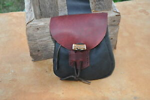 Hand Stitched Leather Belt Bag with Antler Closure and drawstring