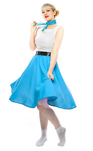 Turquoise Blue Circle Skirt & Sheer Scarf Set - 50s Sock Hop Retro Swing Dance