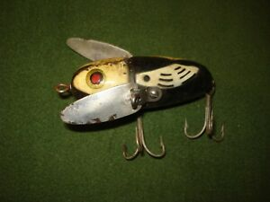 Vintage Heddon Wood Crazy Crawler Fishing Lure BLACK WHITE PATTERN