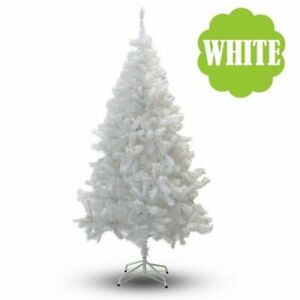 2/4/5/6/7/8ft WHITE PVC Full Artificial Christmas Holiday Tree w/Stand Small-Big