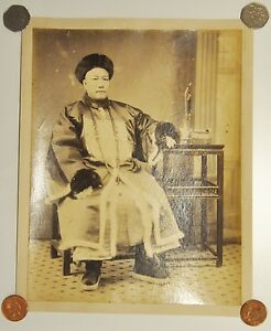 ANTIQUE QING EMPIRE NOBLE MAN OFFICER WINTER COUNT CHINESE CHINA PHOTO ALBUMEN