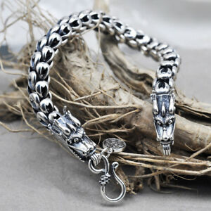 men's solid 925 Sterling Silver Retro DRAGON heavy biker bracelet jewelry S468
