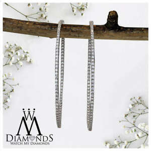 Large Diamond Hoops Earrings with 2.25 ctw in 14kt White Gold