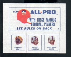 1966 American Oil Football Stamp Panel #4F with ParksLilly and Moore. $135.00