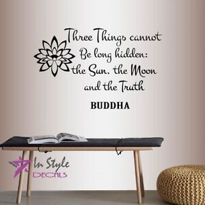 Vinyl Decal 3 Things Sun Moon Truth Buddha Quote Wisdom Yoga Wall Sticker 2189