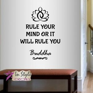 Vinyl Decal Rule Your Mind Buddha Quote Lettering Lotus Yoga Wall Sticker 2190