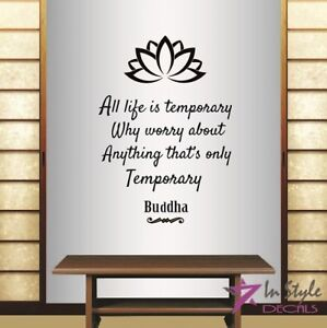 Vinyl Decal Life is Temporary Buddha Quote Lotus Yoga Wall Sticker Decor 2192