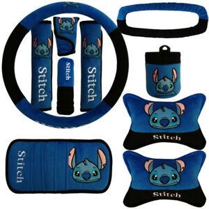 10 Pcs  Set Cartoon Lilo Stitch Car Interior Accessories Universal Plush Covers
