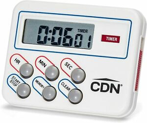 CDN Compact Digital Timer And Clock Memory Feature With Pocket Clip White
