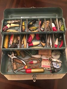 Vintage Tackle Box Full Of Old Fishing Lures & Gear