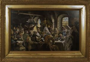Antique Russian Lithograph Boyars Wedding K. Makovsky Signed circa 1900