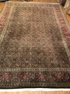 Handwoven Fine Quality Traditional Design Brown Background Size 10'x14'