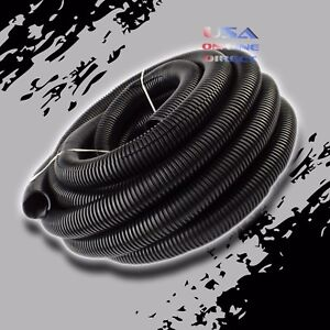 25ft. 3 4quot; Conduit Car Home Boat Tubing Split Wire Loom Black Color Sleeve Tube