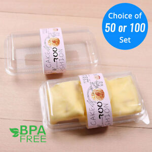 50 100set Clear Durable Pancake Plastic Box Container without Label OA