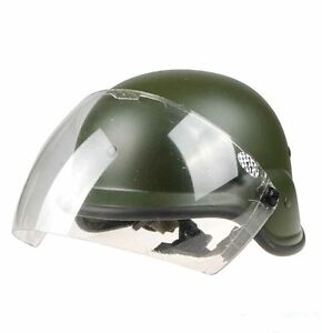 Tactical US Airsoft M88 PASGT Kelver Swat Helmet with Clear Visor Green A