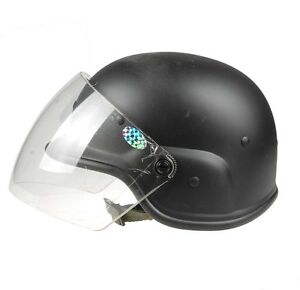 Tactical US Airsoft M88 PASGT Kelver Swat Helmet with Clear Visor Black A