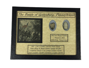 Dropped amp; Shot Civil War Bullets from Gettysburg in Matted Display Case with COA $38.89