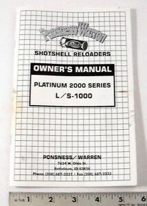 PONSNESS WARREN OWNERS MANUAL PLATINUM 2000 SERIES LS-1000 -  PAGES: 33