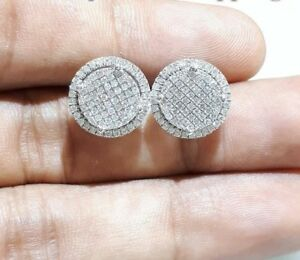 Mens Women Diamond Circle Earrings 925 Sterling Silver Round Pave Studs 1.20 Ct