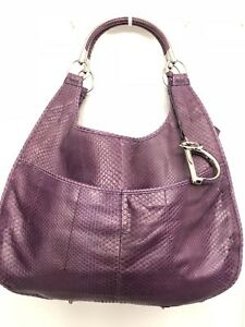 Christian Dior Designer Handbag Purple Python Purse