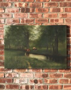19th Century Oil On Canvas Landscape With Cows. Attributed; Robert Atkinson Fox $395.00