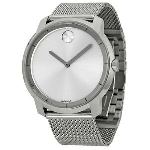 New Movado Bold Silver Dial Stainless Steel Mesh Bracelet Men's Watch 3600260