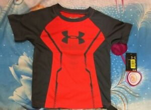 Boys Under Armou Elevated Armour Tee Bolt Orang& Select Shorts Risk Red 2T