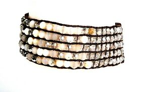 Chan Luu white beaded bracelet w leather ties NR!