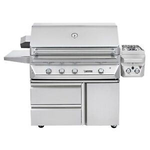 Twin Eagles 42-Inch Natural Gas Grill On Cart With Infrared Rotisserie And 13-In