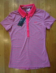 NWT UNDER ARMOUR ZINGER STRIPE GOLF POLO SHIRT PINK FITTED UPF 50 WOMENS XSMALL