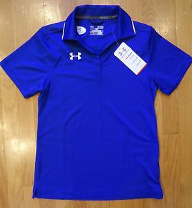 NWT UNDER ARMOUR POLO SHIRT LOOSE FIT ROYAL BLUE WOMENS XSMALL