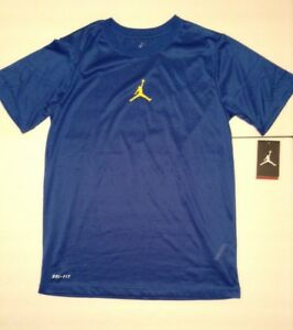 NWT NIKE JORDAN JUMPMAN KIDS BLUE & YELLOW (GSW) DRI-FIT T-SHIRT YOUTH SZ XL