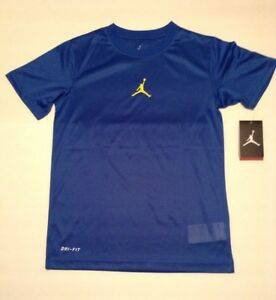 NWT NIKE JORDAN JUMPMAN KIDS BLUE & YELLOW (GSW) DRI-FIT T-SHIRT YOUTH SZ M