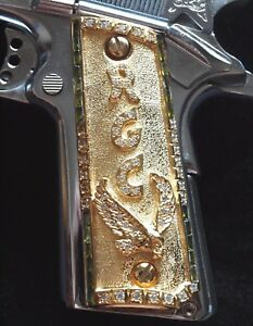 1911 Colt Full Size-Add Your Initials 24K Gold Plated Custom Grips Free Screws