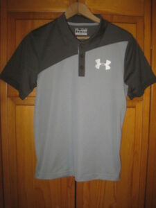 Under Armour Heat Gear loose fit polo golf shirt kids boys youth YLG L gray