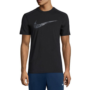 Nike DRY  Fitted Training Shirt Black Digital Camo Swoosh Large New Gym Dri-Fit