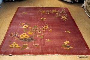Large ART DECO Antique Chinese hand-knotted Garden design pictorial
