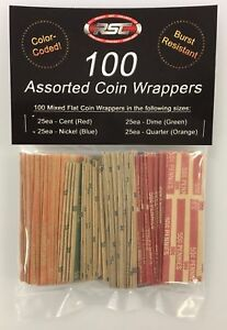 100 Assorted Flat Coin Wrappers by Ready Set Collect